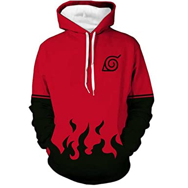 NSOKing Japanese Anime Naruto Cosplay Costume 3D Printed Uchiha Hoodie (Small, Red)