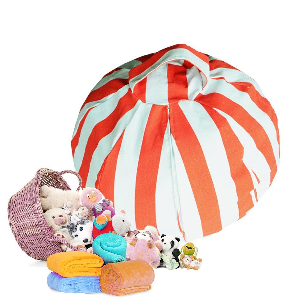 Stuffed Animal Storage Bean Bag Chair 8 petals (Orange)