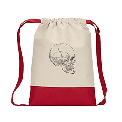 Canvas Backpack Color Drawstring Skull Vintage Look By Style In Print