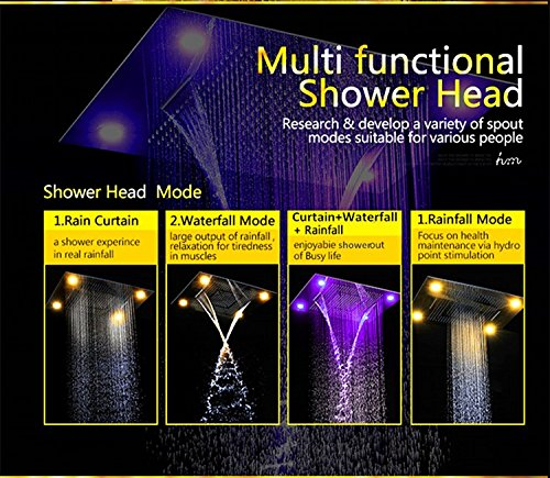 Gowe Multi function Led shower set big size 6080cm remote control led bathroom shower faucet set with message body jets 1
