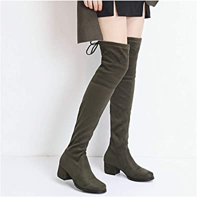 mmusty Women Boots Square Low Heel Over