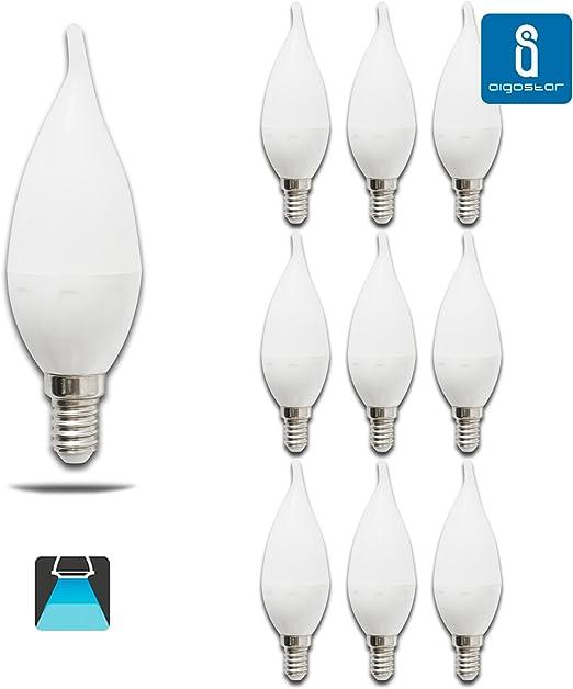 Pack de 10 Bombillas LED CL35 vela, 4W, casquillo fino E14, 320 lumen, luz blanca 6400K: Amazon.es: Iluminación