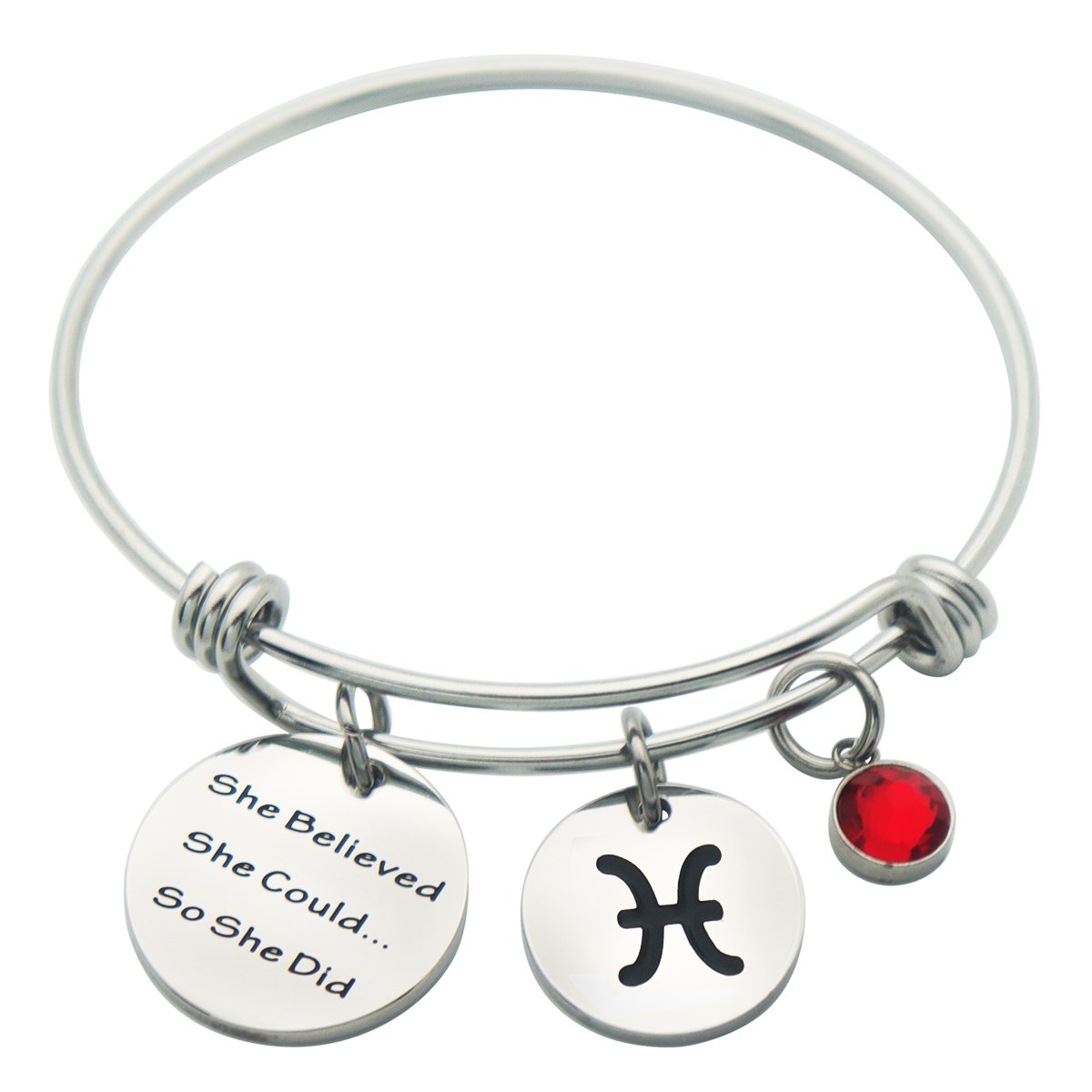 3.21-4.19 Aries Kingmaruo She Believed She Could So She Did Expendable Bangle Bracelet with Zodiac Signs Charm