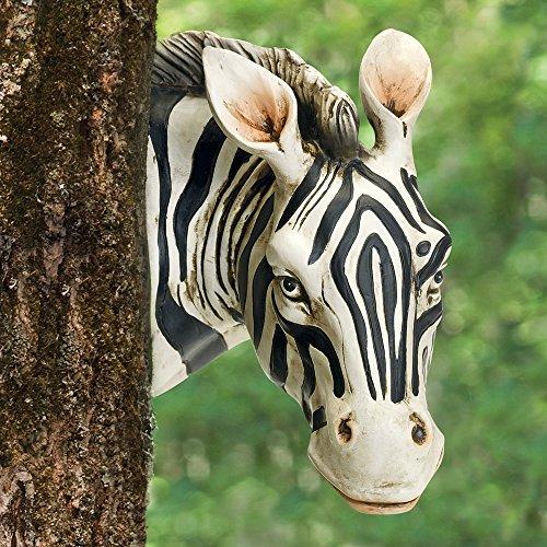 Animals Garden Statue (Bits and Pieces - Zebra Tree Hugger - Durable Polyresin Animal Tree-Hugger Sculpture - Lawn and Garden Outdoor Décor Statue)