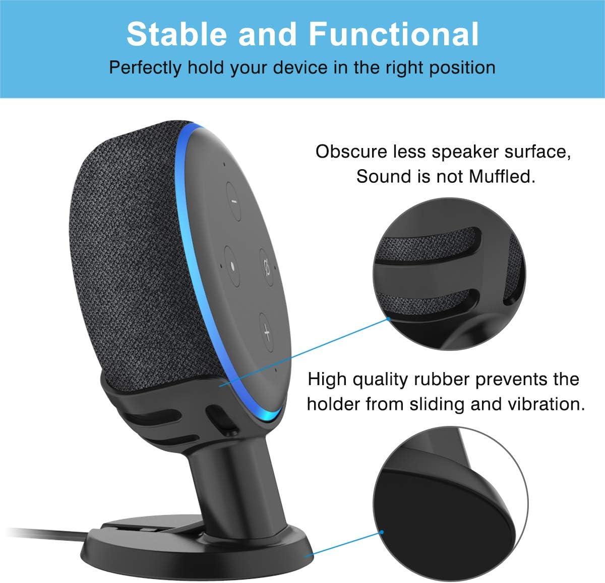 Improves Sound Visibility and Appearance Holder for Dot 3rd Gen 2 Pack-Black SPORTLINK Desk/&Table Mount Stand for Eco Dot 3rd Generation