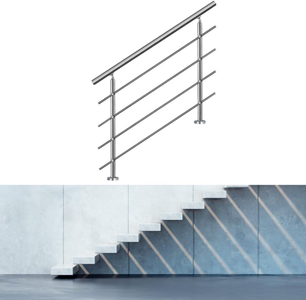 Hengda Edelstahl Handlauf Gel/änder Treppengel/änder 160 cm mit 4 Querstreben Montagematerial Wandhandlauf Wandhalterung Innen /& Au/ßen