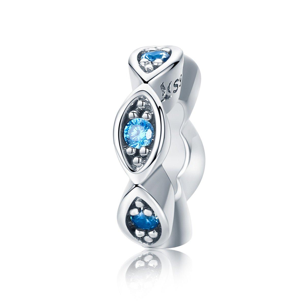 Everbling Fancy CZ Spacer Evil Eye Flower Daisies Star Galaxy 925 Sterling Silver Bead For European Charm Bracelet (Blue Evil Eyes)