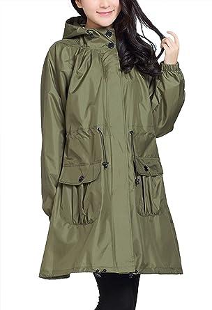 Amazon.com: Women's Waterproof Lightweight Hooded Rain Jacket ...