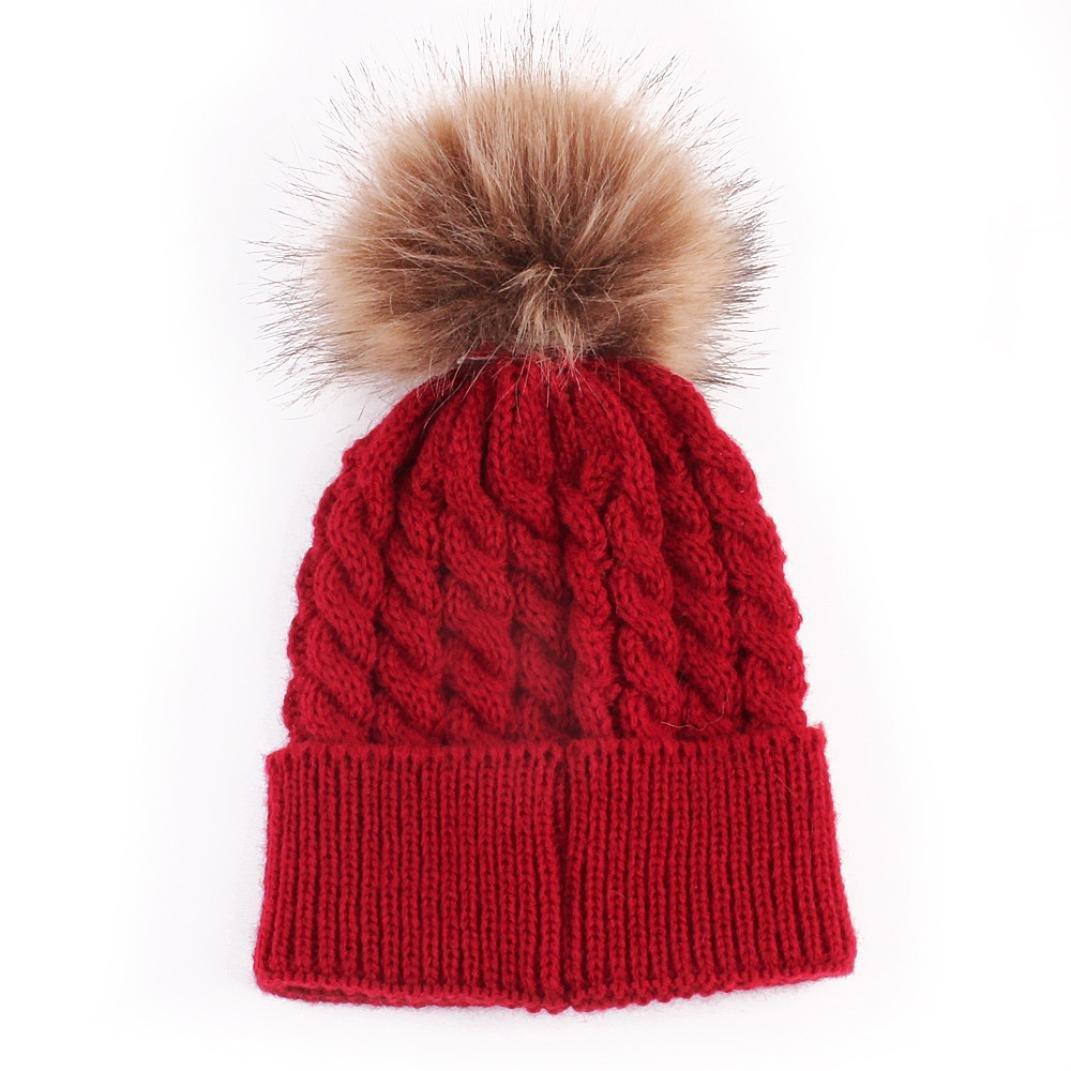 Tenworld Cute Newborn Baby Cap Kid's Pom Pom Knitted Hats 0-36 Months Tenworld-H566