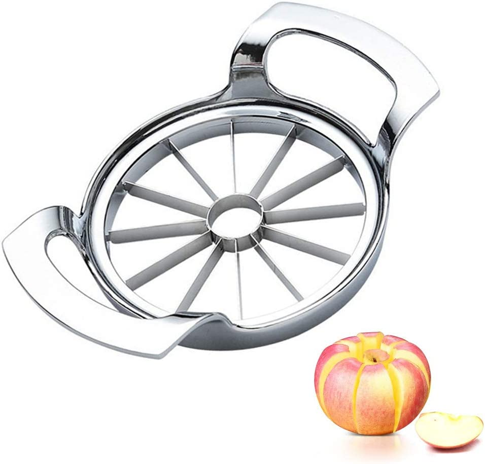 Apple Slicer with 12-Blade Extra Large Apple Cutter, Stainless Steel Ultra-Sharp Apple Corer, Heavy Duty Apple Corer Tool for Up to 4 Inches Apples