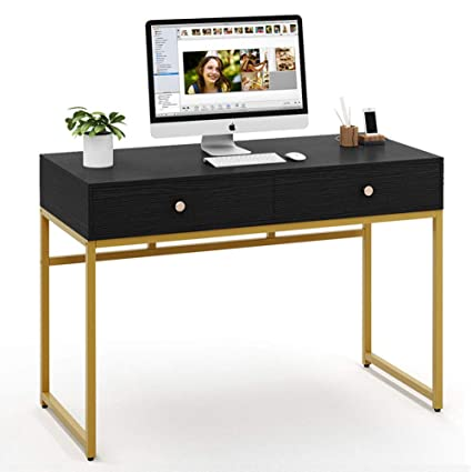 Tribesigns Computer Desk, Modern Simple Home Office Desk Study Table  Writing Desk Workstation with 2 Storage Drawers, Makeup Vanity Console  Table (47 ...
