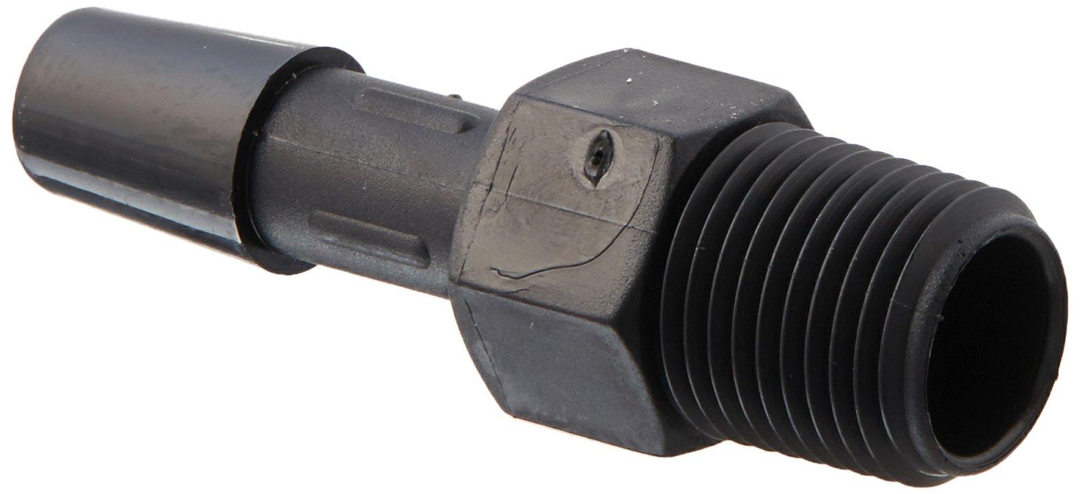 Eldon James A2-4BN Black Nylon Adapter Fitting, 1/8-27 NPT to 1/4'' Hose Barb (Pack of 10)