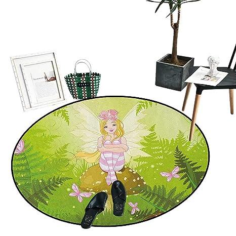 Amazon.com: Alfombras redondas para dormitorio, color lila y ...