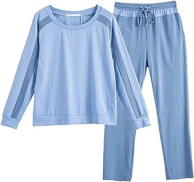 Pijama Pijamas De Manga Larga De Algodón For Mujer, De Primavera Y Verano, De Sección Delgada, For El Hogar, con Pijamas Sencillos. Pijama de Mujer: Amazon.es: Ropa y accesorios