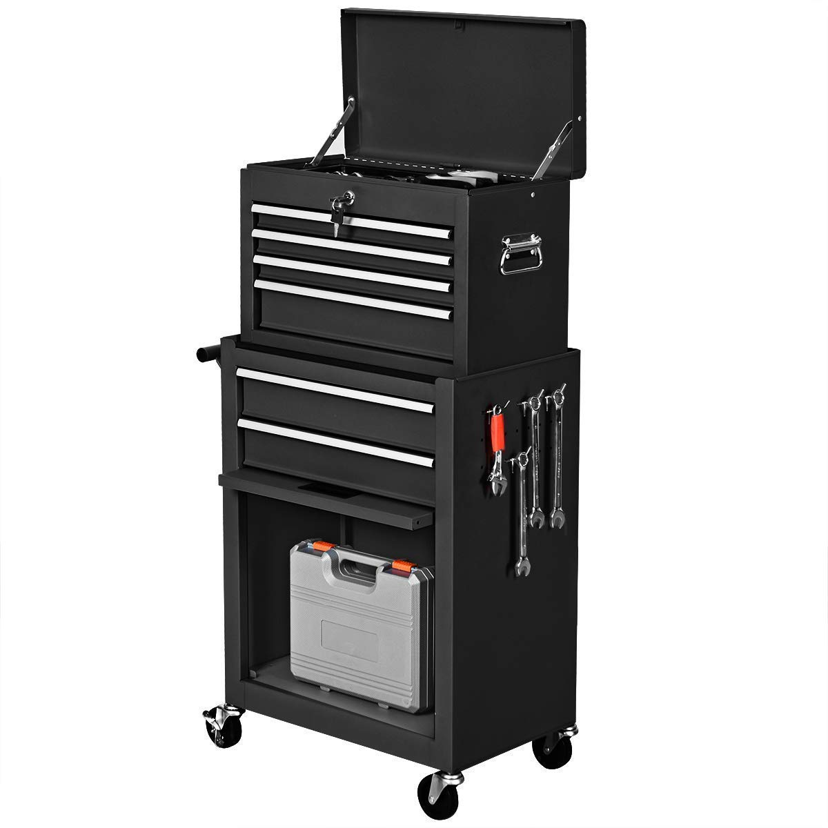 Goplus 6-Drawer Rolling Tool Chest Removable Tool Storage Cabinet with Sliding Drawers, Keyed Locking System Toolbox Organizer (Black) by Goplus (Image #8)
