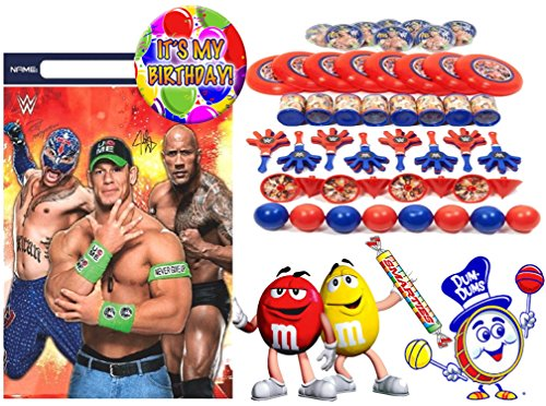 WWE World Wrestling Entertainment Featuring John Cena, Rey Mysterio & The Rock (8) Pre-Filled Toy & Candy Party Favor Goodie Bags! Plus Bonus ''It's My Birthday'' Button! by Designware