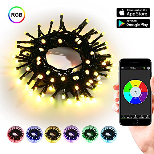 Brizled Bluetooth LED Christmas Lights, 33ft 100 LED Mini string lights with iOS and Android App Controller for Party, Wedding, Christmas Tree, Indoor and Outdoor Decorations, RGB