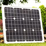 40W Solar Panel with Cable - 12V Battery, Boat, Caravan, Car, Van, Motorhome, Camping, Shed Monocrystalline by PK Green