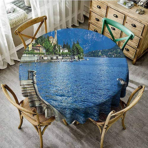 SEMZUXCVO Multifunctional Round Tablecloth Farm House Decor Decorated Restaurant Pastoral Lake Como by Rocky Cliffs Boat in River Holiday Sea Shore Peace Design D35 Blue (Best Restaurants Lake Como)