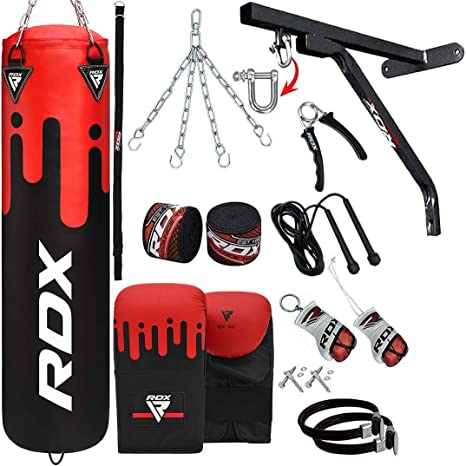 Wall Bracket,17pc for Grappling MMA RDX Punch Bag for Boxing Training Muay Thai 4ft 5ft Filled Heavy Bag Set with Punching Gloves Kickboxing Chain BJJ,Taekwondo Karate