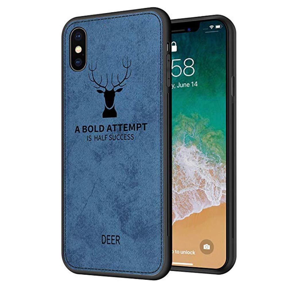 HKFV Hülle Für iPhone XS Max Lederbezug Leder Schlanke Stoff Textur Weichen TPU 3D Tuch Case Cover (Blau)