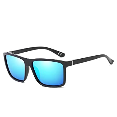 83fea76b37 BVAGSS UV400 Protection Polarised Mens Sports Sunglasses For Cycling  Running Baseball Fishing Driving Unbreakable Rectangle Frame (Black Frame  With Blue ...