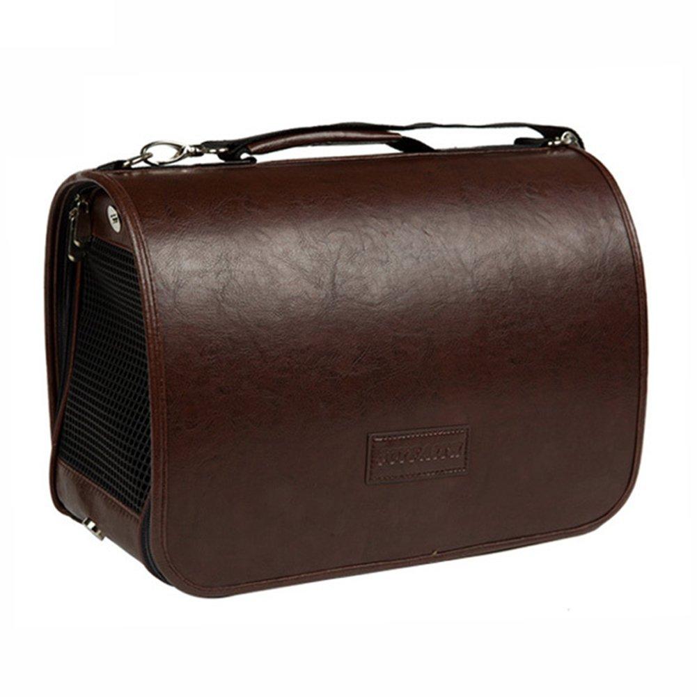 Creation Core Retro Design Luxury PU Leather Pet Dog Cat Handbag Carrier with Shoulder Strap(Brown,S)