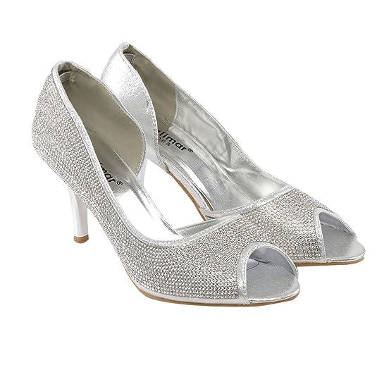 Zapatos de Noche para Mujer con Cristales Adornados D Orsay Slipons de Punta  Abierta para Novia e2da4e4e91f5