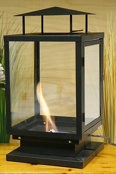DEL Table Cheminée Cheminée DEL Lanterne Avec Timer Noir en Plastique 25x15x38 cm