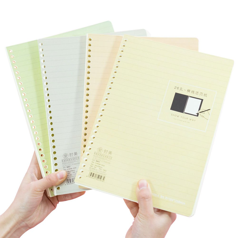 Amazon.com : JUNDA Loose Leaf Papers, B5 Size 26 Holes Lin ...