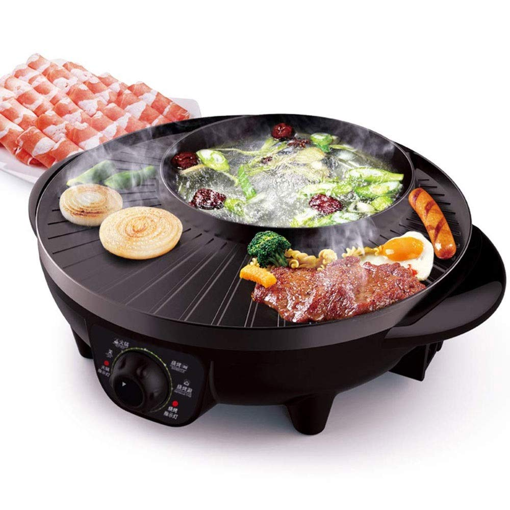 Yyqthg Multifunctional hot Pot, Cooker Multi-Purpose Pot Barbecue Hot Pot Integrated Grill 2-4 People Smokeless Non-Stick by Yyqthg
