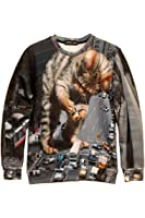 Pink Queen Fashion Pullover City Big Cat Printed Sweater Sweatshirt Hoodie