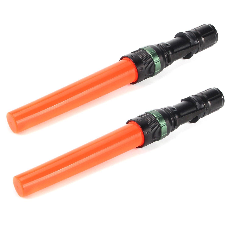 UltraFire 2pc 11-Inch Signal Traffic Wand Baton LED Flashlight CREE 250 Lumen, Red Flashing Mode, Wrist Strap Lanyard, Side Clip, Orange Finish for Kids Outdoor Camping