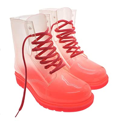 Women Lace-up Clear Rubber Candy Color Flat Ankle Rain Booties Soft Jelly Shoes Size:8.5(US size) Pink