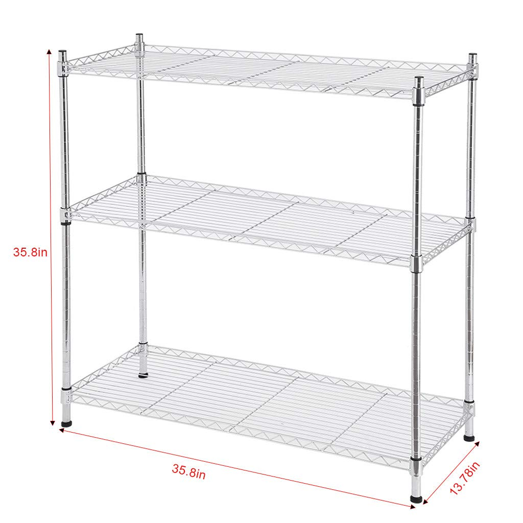 Libison 3-Shelf Wire Metal Shelves Utility with Adjustable Shelves and Leveling Feet Storage Rack Storage Organizer Shelving Units for Kitchen Bathroom Office