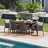 Killion Outdoor 7 Piece Multi-Brown Wicker Dining Set with Foldable Table Review