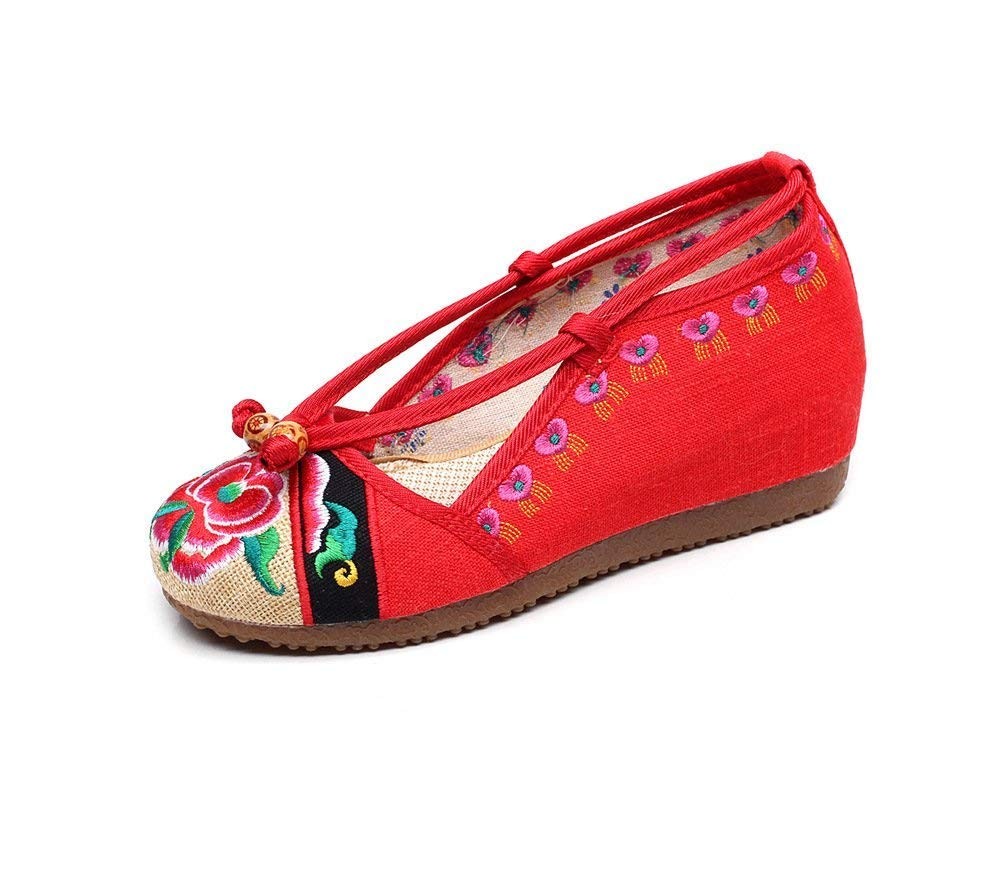 Eeayyygch Bestickte Schuhe Sehnensohle Ethno-Stil weibliche Stoffschuhe Mode bequem lässig lässig lässig rot 41 (Farbe   - Größe   -) f495c1