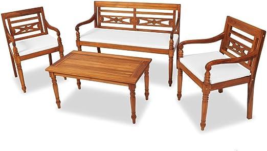 Tidyard Conjunto de Mesas y 2 Sillas de Jardín de Batavia con Banco y Cojines,Conjunto de Muebles de Jardín 7 Piezas para Jardín Terraza Patio,Madera de Teca: Amazon.es: Hogar