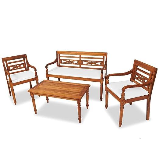 Festnight Juego 7 Piezas Muebles Batavia Banco y sillas y ...
