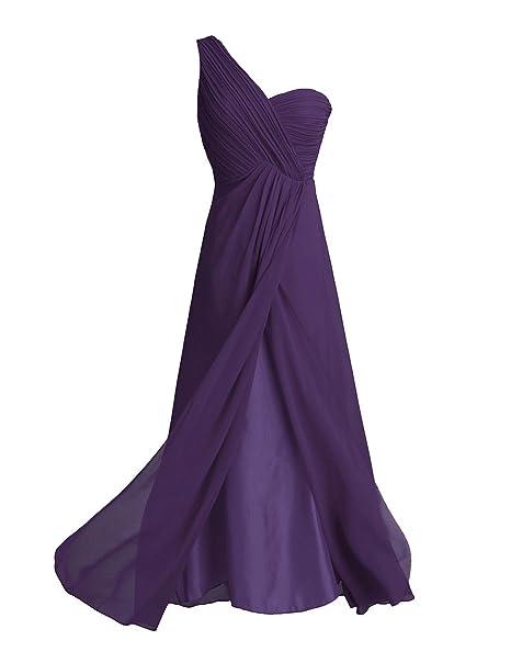 TiaoBug Women Ladies Chiffon One Shoulder Wedding Bridesmaid Gown Long Evening Banquet Prom Party Dress