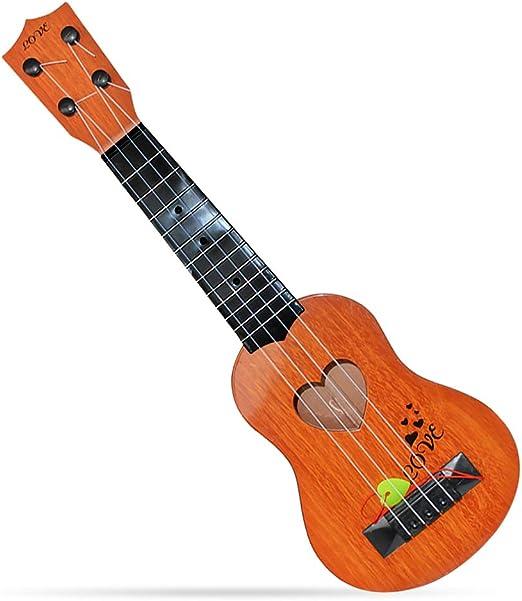 Local Makes A Comeback guitarra de Madera de juguete, para niños, Mini de cuatro cuerdas puede tocar en la iluminación Juguete de música infantil temprana (marrón claro): Amazon.es: Hogar