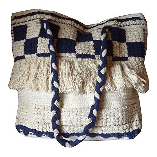 en la blanc gland à main en Fait avec Sac Frange décoratif et cassé tissé bleu Kilim coton 8B1wzq