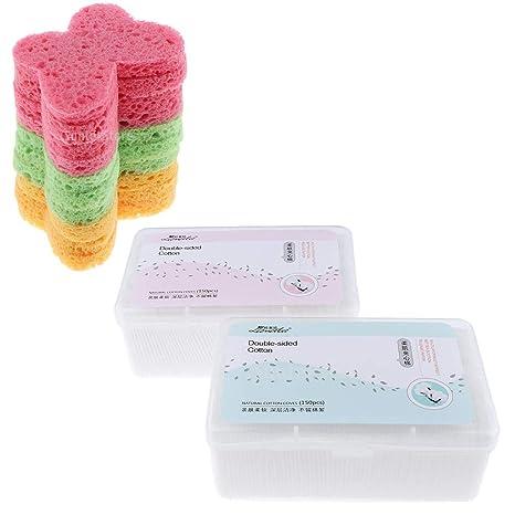 B Baosity 10 Pedazos Limpiador de Lavado de Cara Esponja Soplo Facial + 2 Caja Toallitas