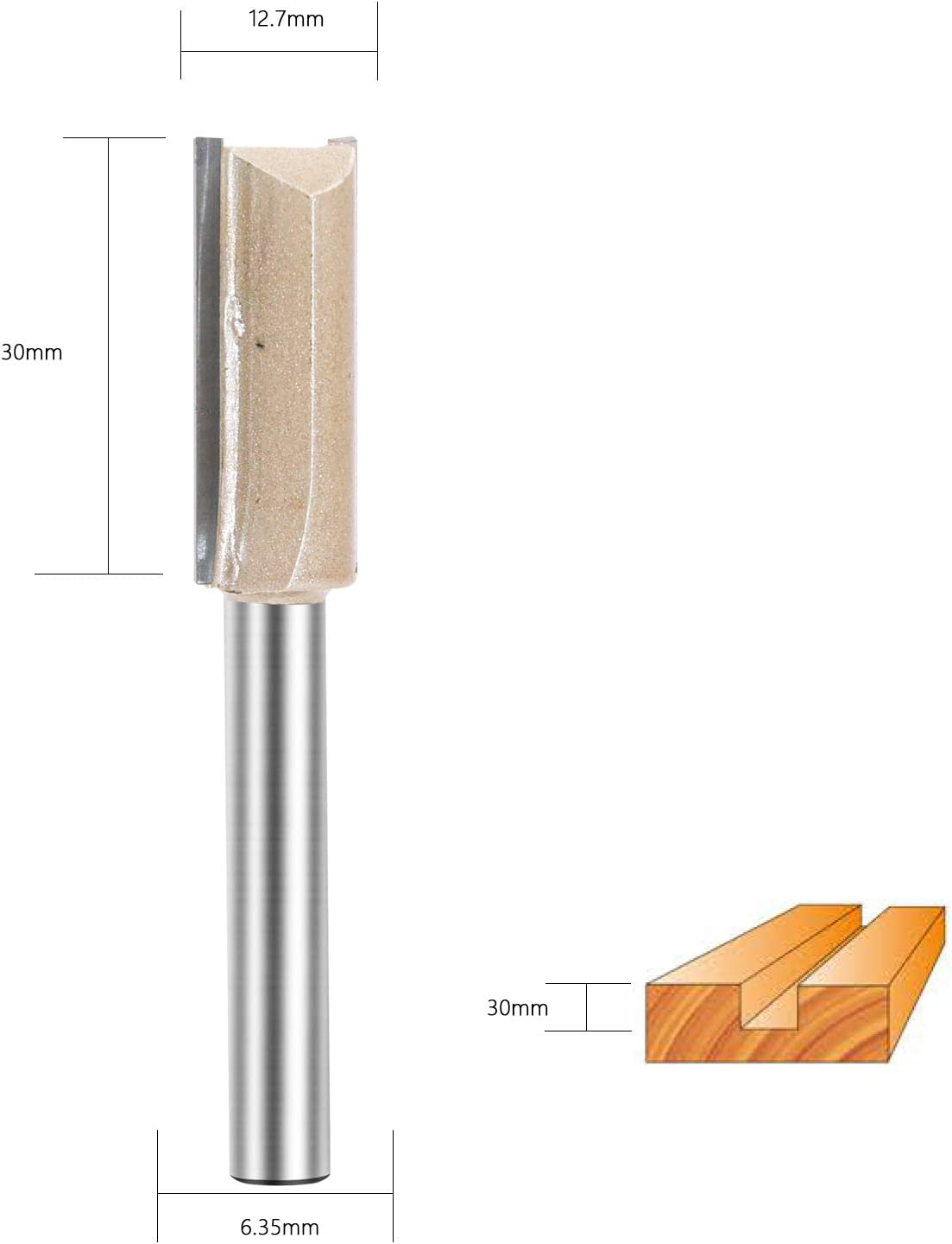 Straight Router Bit Double Flute Plunge Router Bit Carbide Tipped Woodworking Tool 1//4 Shank Cutting Dia 3//4 inch
