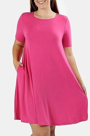 Zenana Hot Pink Short Sleeve T Shirt Dress Plus Size Pink Tshirt