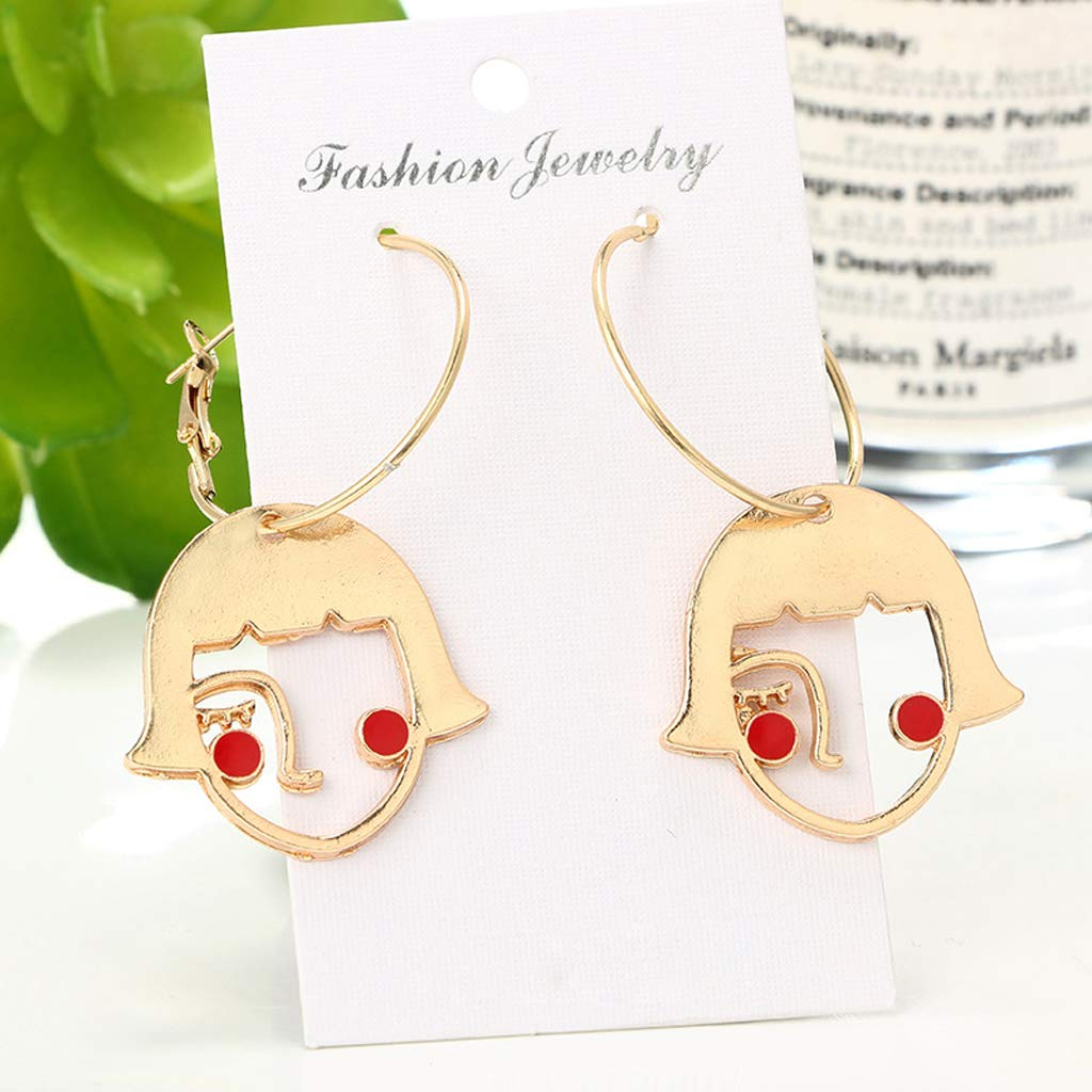 lipiny Gold Tone Cute Shy Girls Abstract Hollow Face Drop Earrings Fashion Jewelry