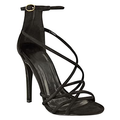 5e72e161c960 Womens Ladies Heel Barely There Strappy Ankle Strap Open PEEP Toe Sandals  Shoes Size  Amazon.co.uk  Shoes   Bags