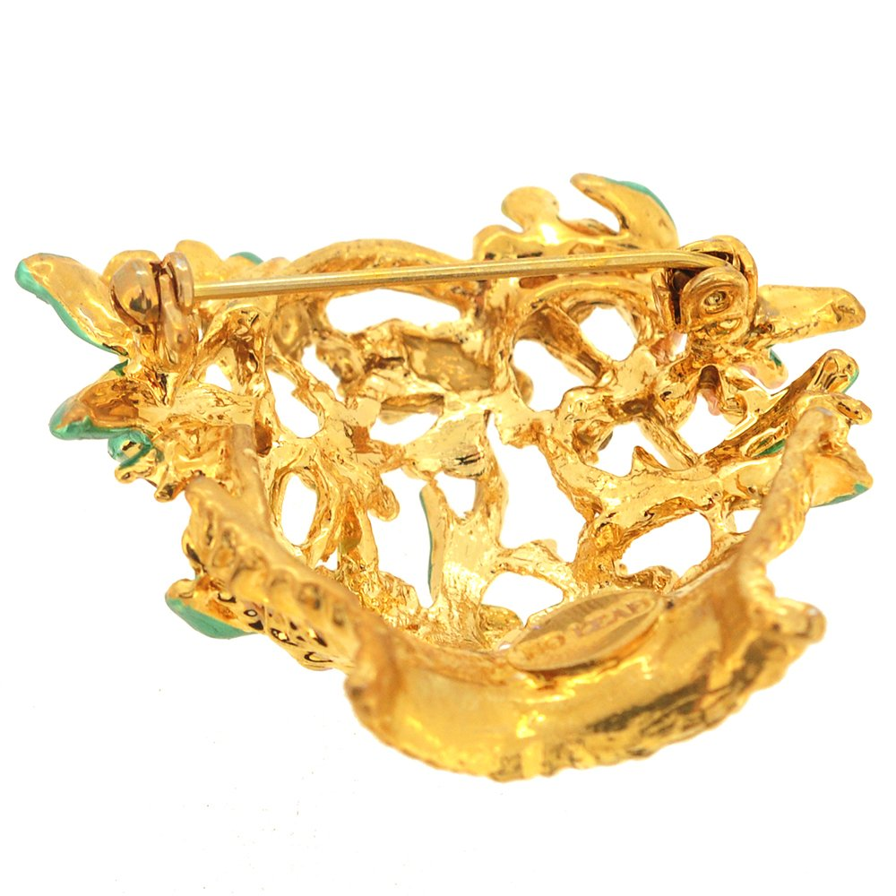Fantasyard Golden Flower Basket Pin Brooch