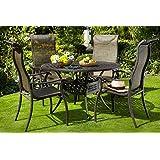 Hartman Esstischgruppe Palermo, Tischgruppe mit 4 Stapel-Stühlen in Bronze, Gartengarnitur aus Aluminium Alu, Sitzgruppe mit Teak-Holz Elementen