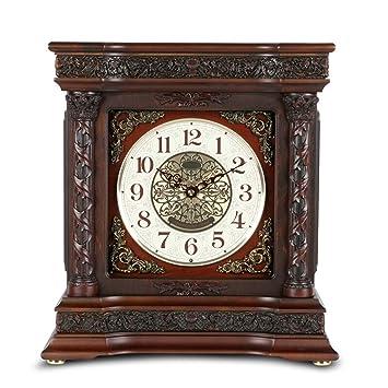 Relojes de mesa Sin tictac Sala de Estar Decoración Dormitorio Europeo Reloj Vintage Reloj con Pilas Relojes de Alarma Madera Maciza Retro Decoración Cuarzo ...